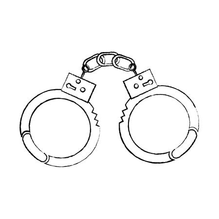 ilustración de vector de arresto de seguridad de herramienta de policía de esposas