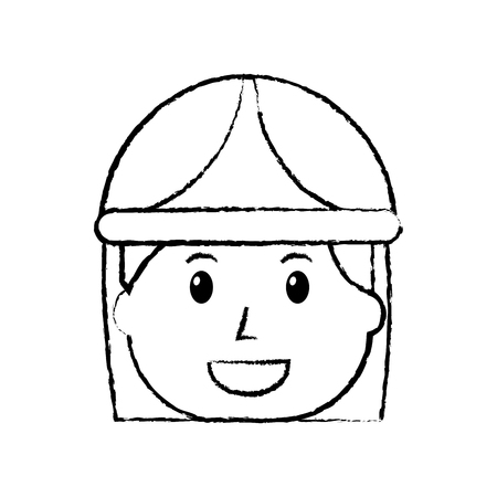 female face smiling worker with helmet protection vector illustration