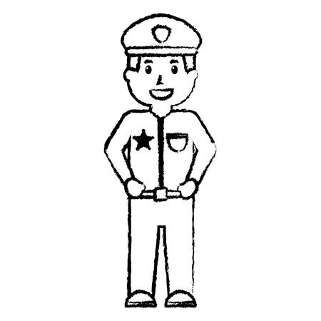 staande politieagent glimlachend uniform en cap vector illustratie