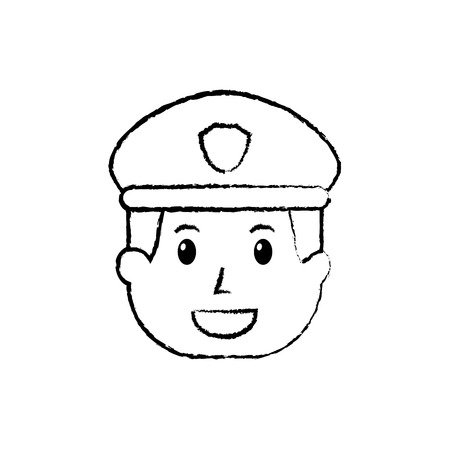 policeman face happy authority character vector illustration