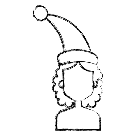 Woman with Santa hat vector illustration design
