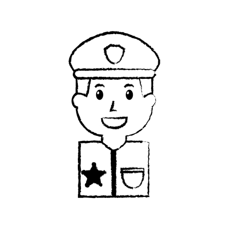portrait policeman smiling with hat uniform vector illustration Illustration