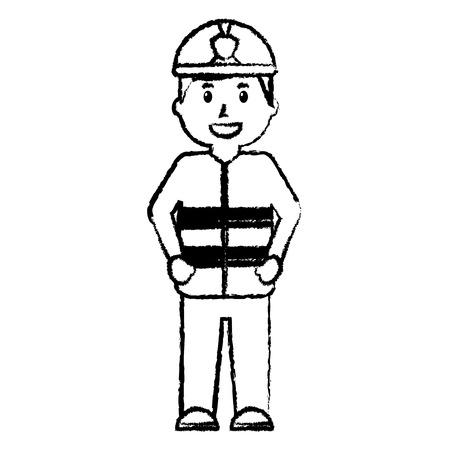 Standing happy firefighter vector illustration Illustration