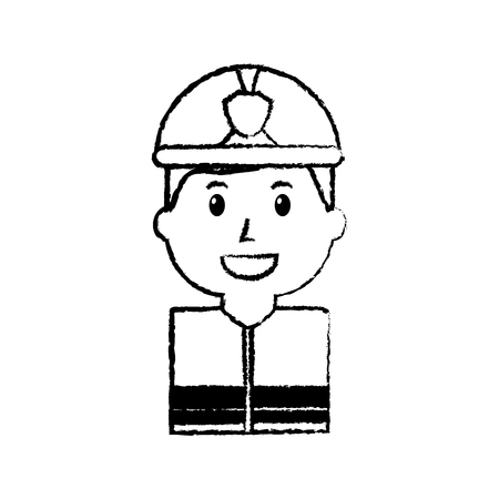 Firefighter portrait cartoon with helmet vector illustration