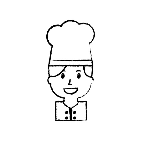 Portrait chef woman occupation worker, vector illustration.