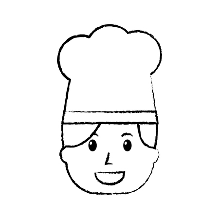 Chef woman happy worker with hat, vector illustration.