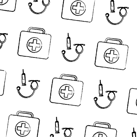 seamless pattern medical kit fisrt aid syringe and stethoscope vector illustration