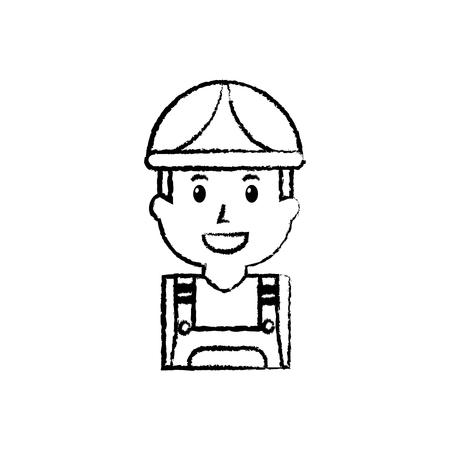オーバーオールとヘルメットのイラストを使用した労働者の男性の建設の肖像画。
