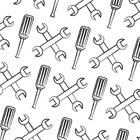 Seamless pattern wrench and screwdriver tool repair pattern, vector illustration.