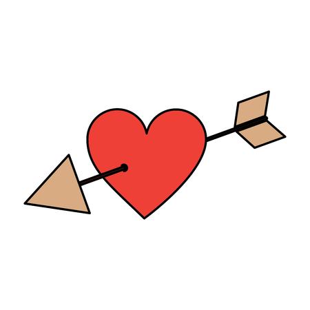 사랑 큐피드 하트 피어싱 된 화살표 로맨틱 열정 아이콘 벡터 일러스트 레이션