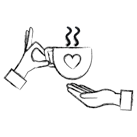 hand with coffee cup with heart vector illustration design Иллюстрация