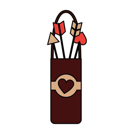Quiver love arrows cupid equipment illustration. Çizim
