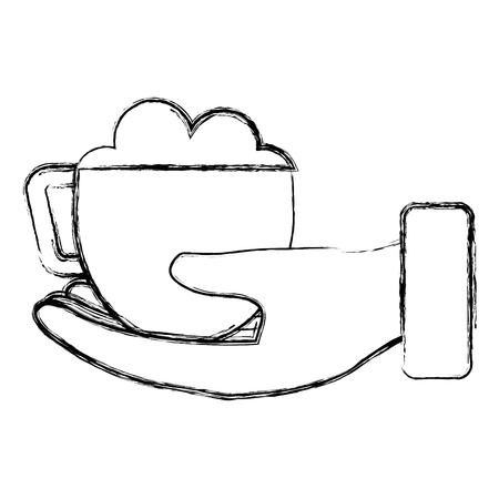 コーヒーカップのアイコンと手。