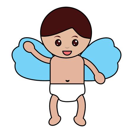 Cupid flying hand waving cartoon illustration. Illustration