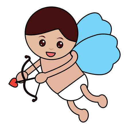 Cupid angel flying with bow arrow.