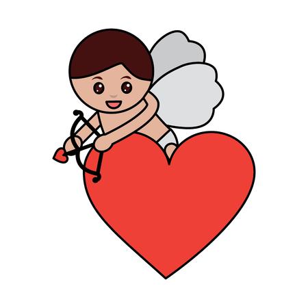 Flecha de corazón de amor cupido disparar con ilustración vectorial de arco Foto de archivo - 91438042