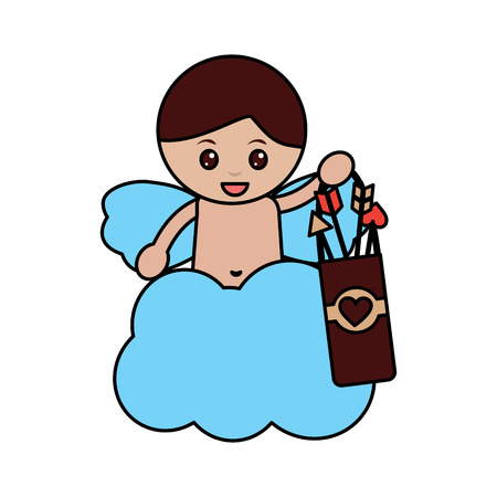 cute cupid angel love holding bag arrow cloud vector illustration