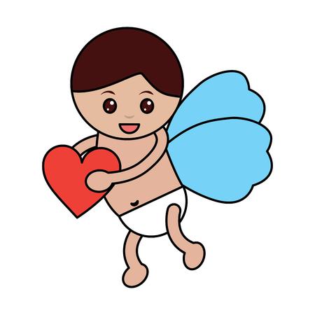 キューピッドは、心、愛とロマンチックなイメージのイラストを保持します。