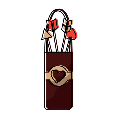 Quiver with love arrows vector illustration