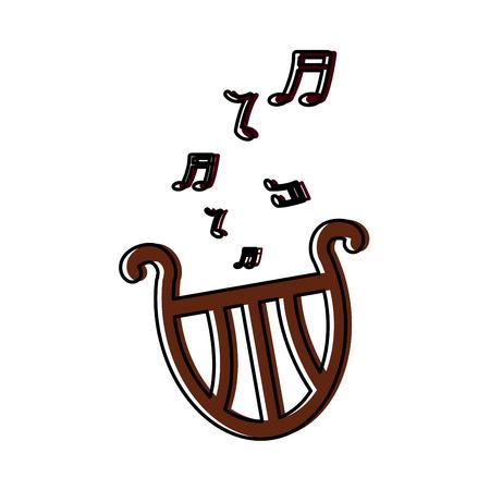 romantic harp note music instrument vector illustration