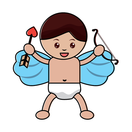love cupid holding bow and arrow vector illustration
