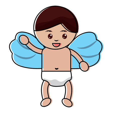cute cupid flying hand waving cartoon vector illustration
