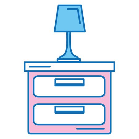 Slaapkamerlamp met ontwerp van de lade het geïsoleerde pictogram vectorillustratie Stock Illustratie
