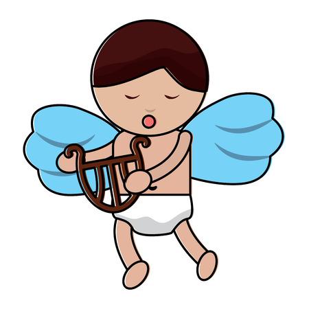 Bonito Cupido amor segurando harpa ilustração vetorial de música Foto de archivo - 91437638