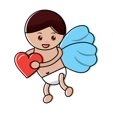 cupid holding heart love romantic image vector illustration
