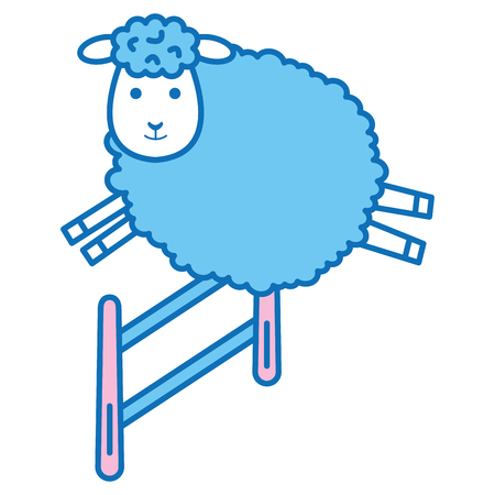 cute sheep jumping fence character icon vector illustration design