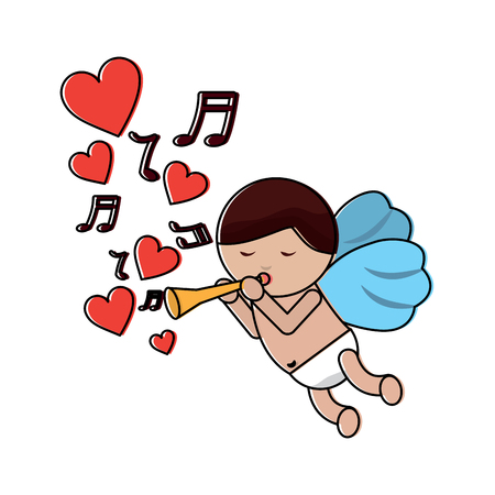 love cupid flying with trumpet music hearts romantic vector illustration