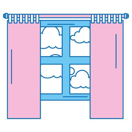 침실 창문 하루 격리 된 아이콘 벡터 일러스트 레이 션 디자인