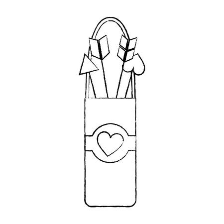quiver love arrows cupid equipment vector illustration