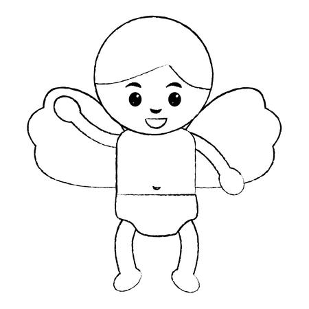 귀여운 큐피드 비행 손으로 만화 벡터 일러스트 레이션을 흔들며