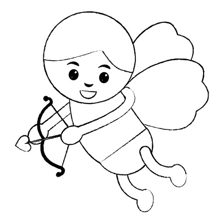love cupid angel fly bow arrow romantic vector illustration Иллюстрация