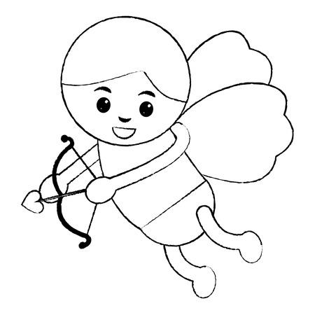 love cupid angel fly bow arrow romantic vector illustration Illustration