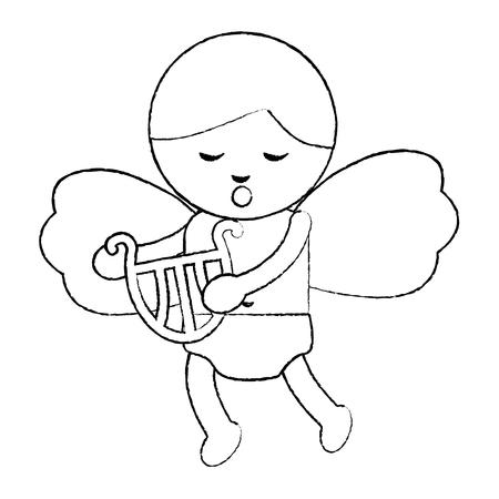 Bonito Cupido amor segurando harpa ilustração vetorial de música Foto de archivo - 91438585