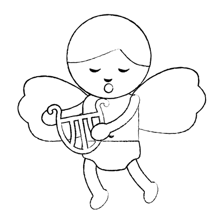 cute cupid love holding harp music vector illustration