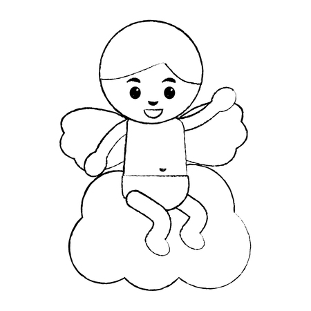 love cupid sitting in cloud cartoon vector illustration