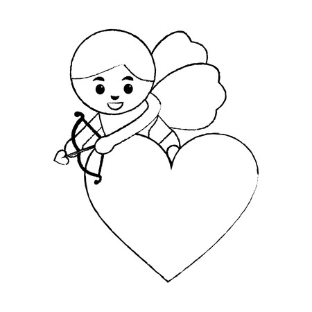 Amore cuore cupido freccia di tiro con illustrazione vettoriale di prua Archivio Fotografico - 91438613