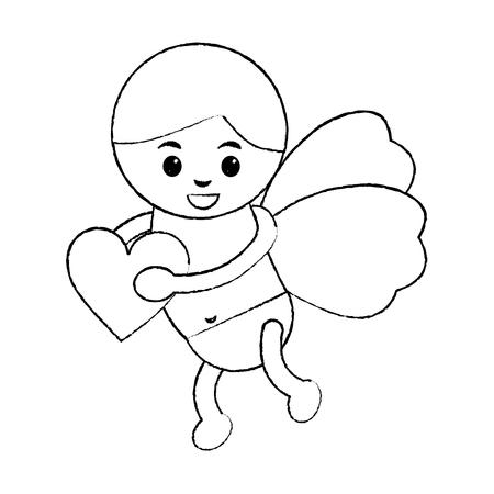 キューピッド保持ハート愛ロマンチックなイメージベクトルイラスト 写真素材 - 91438600
