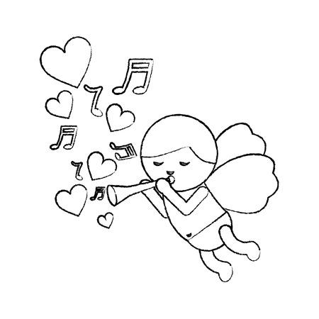 낭만적 인 벡터 일러스트 트럼펫 음악 마음과 비행 큐피드 사랑