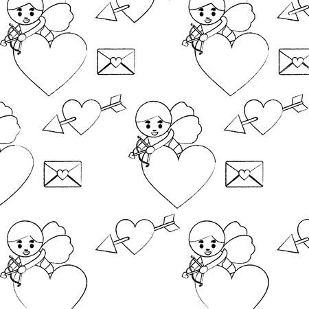귀여운 큐피드 촬영 화살표 심장 문자 사랑 원활한 패턴 벡터 일러스트 레이션