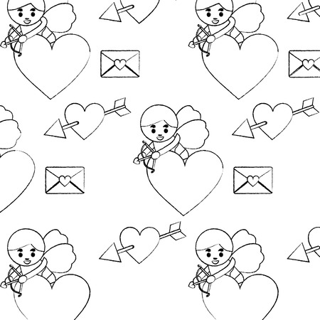 cute cupid shooting arrow heart letter love seamless pattern vector illustration