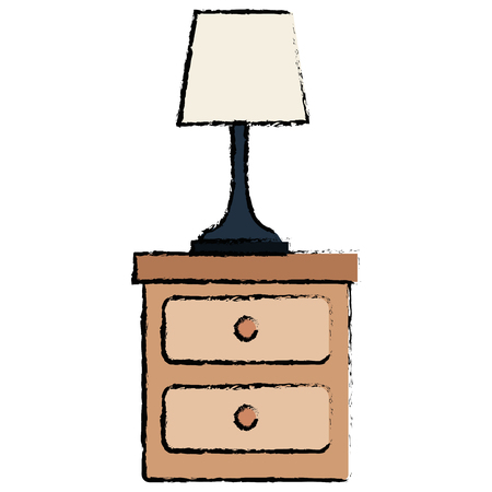 bedroom lamp in drawer isolated icon vector illustration design