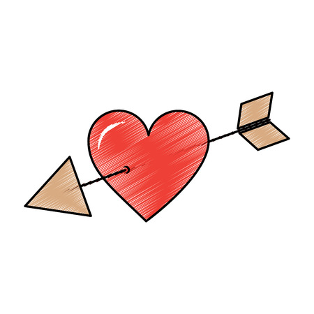 Love cupid hearts pierced arrow, romantic and passion icon illustration.