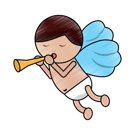 Love cupid with trumpet music romance vector illustration
