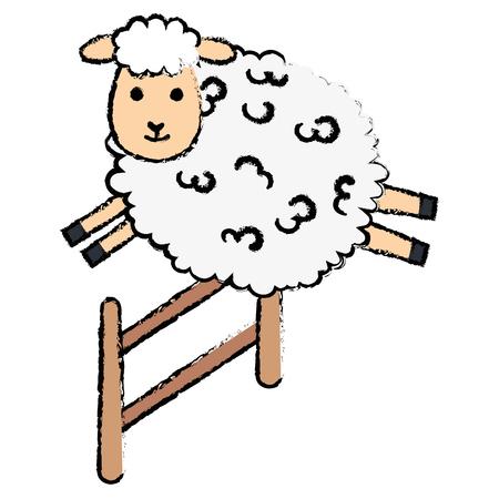 かわいい羊ジャンプフェンスキャラクターアイコンベクトルイラストデザイン  イラスト・ベクター素材
