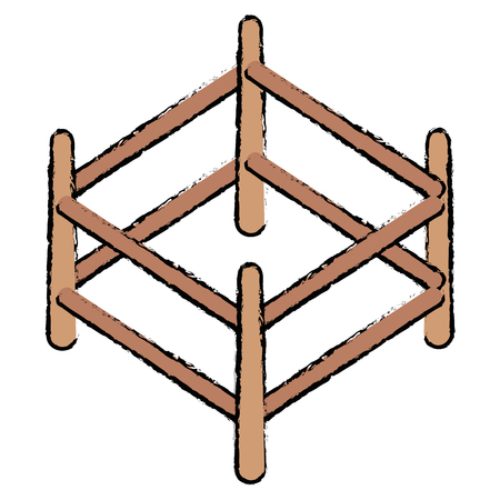 wooden corral isolated icon vector illustration design Çizim