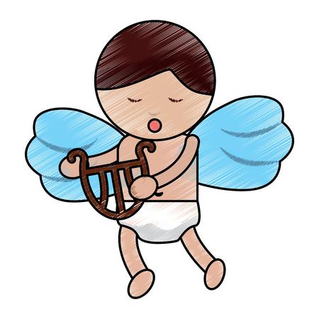 Cute cupid love holding harp music vector illustration Illustration